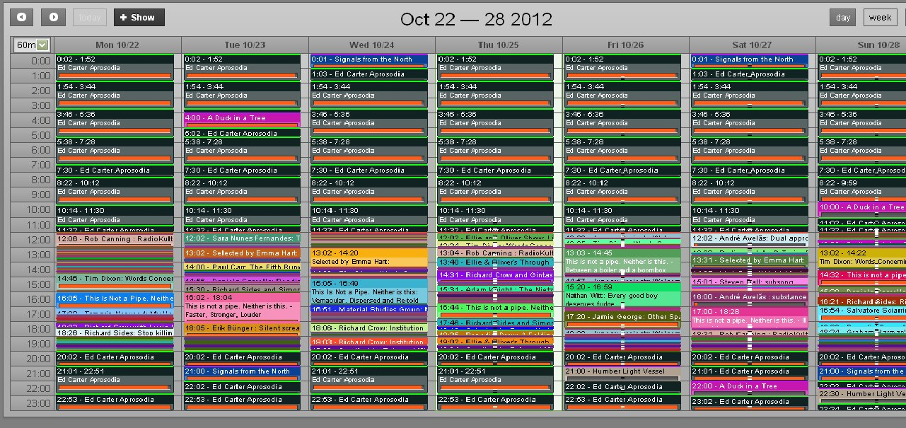 '128kbps objects' whole week schedule as it appears AirTimePro