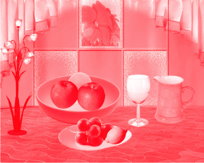 "Tara Kelton, Still Life 6, 2013; Still Lifes created by desktop publishing workers in Bangalore, India. Parameters given: create an 8"" x 10"" composition with 2 apples, 1 orange, 1 lemon, grapes, a plate, bowl, jug and glass."